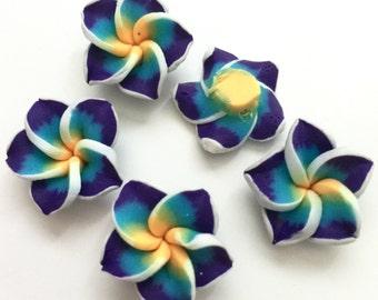 5 Piece Handmade Blue, Yelow Clay Flower Bead Cabochons - Kawaii Decoden Flatback (TDK-C1554)