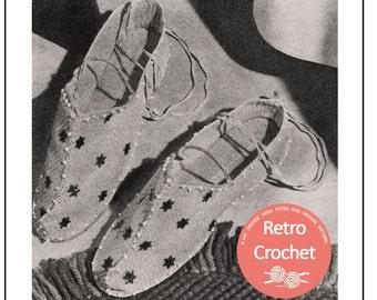 Crochet Slippers  Vintage Pattern  - Crochet Pattern - PDF Instant Download