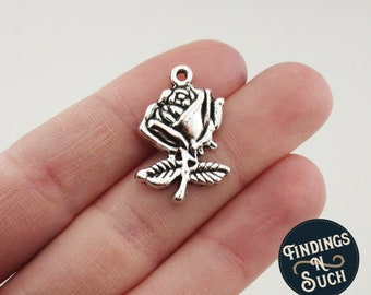 6 Rose Charms Antique SIlver Tone