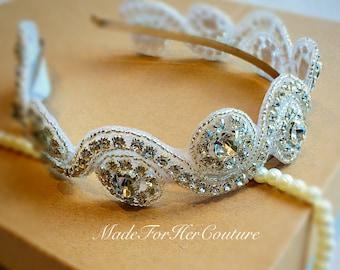 Bridal Headpiece, Silver Wedding headband, Bridal Headband, Wedding Headpiece, Rhinestone Headpiece, Silver Metal Band
