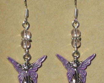 Enameled Fairy Beaded Earrings