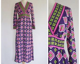 70s Dress / 1970s Dress / Vintage Dress / 70s Maxi Dress / Boho Dress / Boho Maxi Dress / Neon Maxi Dress / Long Sleeve Dress / Size Small