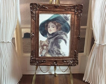 Miniature Dollhouse Framed Fine Art Print...Lady and Her Pomeranian