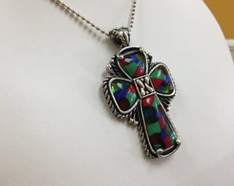 Vintage 925 Sterling Silver Multi-color Cross Pendant!!!  Free US First Class Shipping!!!
