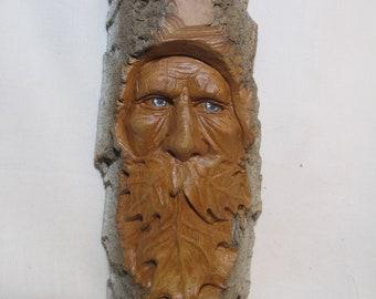 Greenman Wood Spirit, North Dakota Cottonwood Bark One of a Kind, Hand carved in Missouri, Tree Troll, Gift for him, Rustic Log Cabin Decor