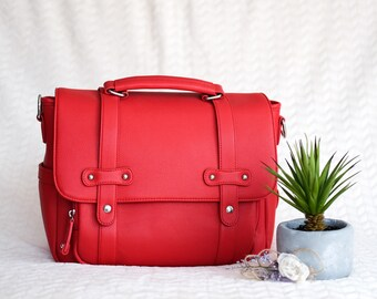 MOTHER'S Day SALE - Stylish DSLR Camera Bag - Cherry Red | Women Camera Bag | Carries 2-3 lenses | Adjustable Compartment