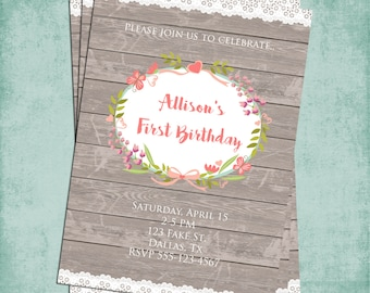Custom Wood and Lace Rustic Chic Invitation