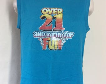 Vtg 1981 Novelty Iron On Sleeveless T-Shirt Teal 80s Funny Party