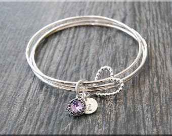 Set of 3 Sterling Silver Bangle Bracelets, Wrapped In Love Birthstone Bracelet Set, Personalized Birthday Bangle, Floating Heart Bangle