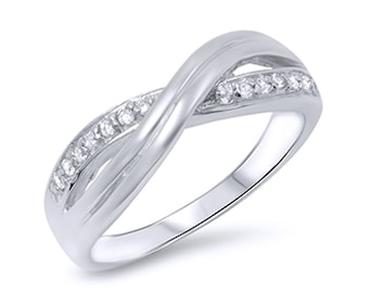 Women Sterling Silver Round CZ Infinity Band Anniversary Ring 7MM(SNRC105415)