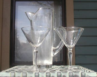 Classic Mid Century Martini Pitcher With Stem Glasses Vintage 1950u0027s Barware  Cocktails For Two SALE PRICE