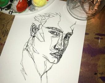 Single Line Art Print : Custom one line drawing people subjects