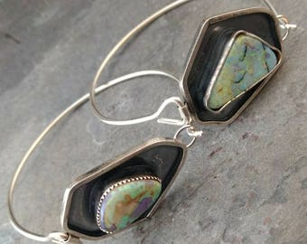 Galaxy Opal and Sterling Silver Tension Bracelet