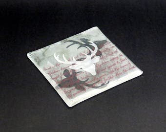 Clear Stag Coaster with red motif