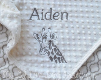 Giraffe baby blanket etsy personalized baby blanket giraffe baby blanket baby gifts personalized monogrammed baby gender negle Gallery