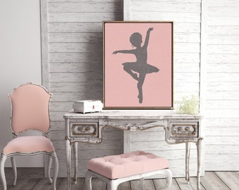 Canvas Prints Wall Art or Giclee Print for Home Decor or Nursery with Pink Ballet theme and Modern Feel ballerina Gift Idea