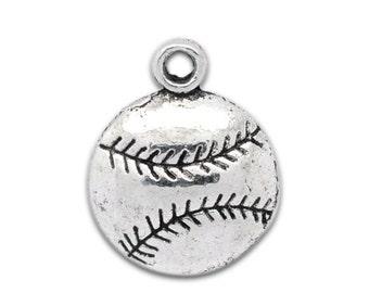 5 Pieces Antique Silver Baseball / Softball Charms