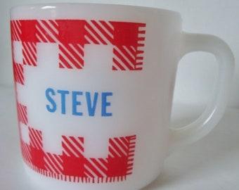 Vintage 1950s Westfield Milk Glass Red Checked Name Coffee Mug  STEVE