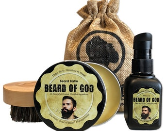 Beard Balm Conditioner + Beard Oil + Boar Brush & Sack by BEARD of GOD™ | 20 Signature Scents | Organic | Made to Order | Gift Set
