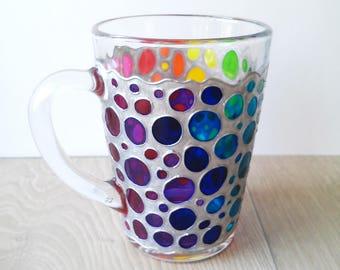 Rainbow Coffee Mug Sun catcher mug Multi Coloured Ovals Painted Glass Mug