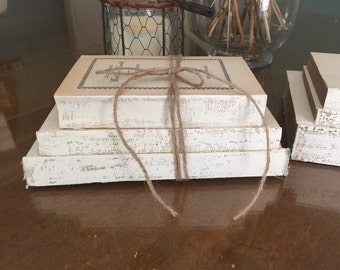 French Country Decor, Uncovered Painted Books, White Decorative Books, Distressed Books, Old Book Stack, Trending Decor, Books For Display