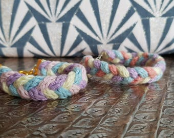 Wool knitted and braided bracelets - various colors - handmade