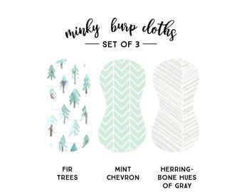 Burp Cloths Piney Trees Set of Three. Baby Gift. Baby Shower Gift. Burp Cloth. Burp Rag. Baby Essentials. Quick Ship.