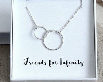Best Friends Necklace, Friendship Necklace, Gift for Best Friend, Sterling Silver 2 Rings Necklace, Friends Forever, Personalized Gift