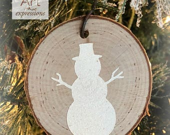 Snowman Rustic Ornament | Reclaimed Wood Christmas Ornament | Hostess Gift