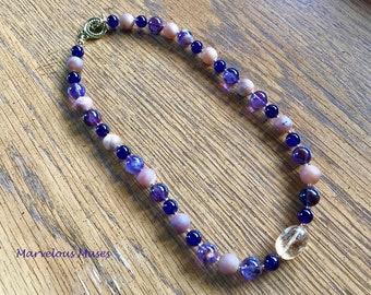 Amethyst, Druzy Agate and Phantom Purple Agate Necklace