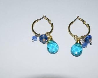 blue and gold hoop earrings