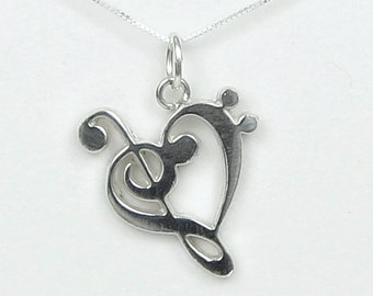 Bass and Treble Clef Heart  Necklace - Gift for Musician Musical Theater Cast-Crew Music Lovers Love You -Solid Sterling Silver Handmade USA