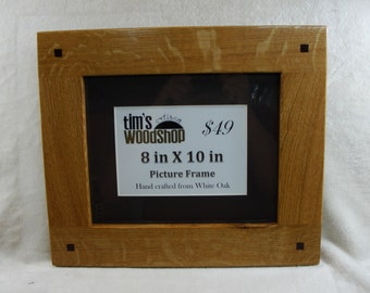 Picture Frame - White Oak, mission style, Square Walnut plugs