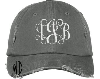 Monogrammed Distressed Hat, Monogram Cap, unstructured, cotton twill low profile, buckle back, ball cap, summer cap, beach hat, pink, coral