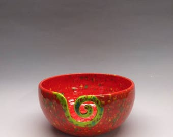 Yarn Bowl in Red and Chartreuse with Speckles