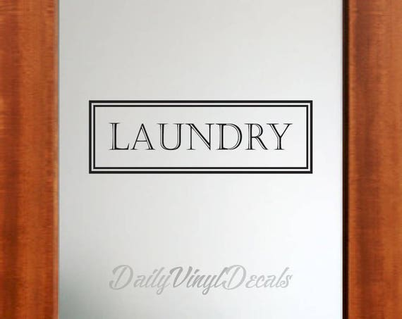 Laundry Vinyl Decal *Choose Size & Color* Vintage Style Laundry Wall Decal - Vinyl Lettering Letters Window Door Rectangle Decal etc.