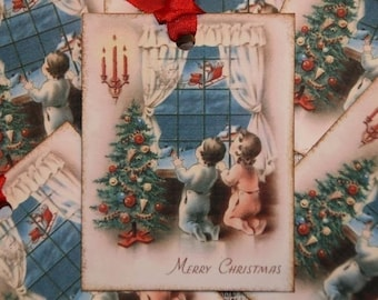 Vintage Postcard Christmas Eve Merry Christmas Gift Tags