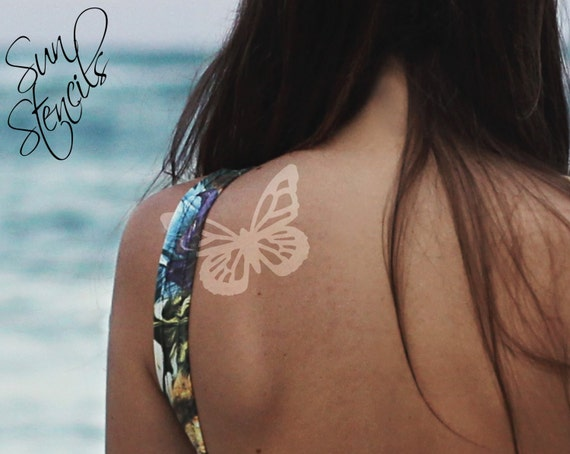 Sun tan tattoo butterfly design tanning sticker temporary for Tanning beds and tattoos