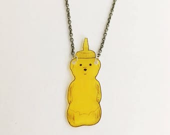 Honey Bear Necklace Cute Pendant Sweet Gift For Her Delicious Honey Bee Honeycomb Foodie Gourmet Gourmand Food Lover Gift Chef Baker Cooking