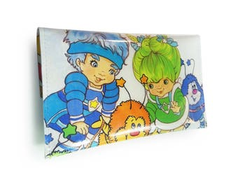 Rainbow Brite Purse - Upcycled Vintage Book Page in PVC - 80s Cartoon - Color Kids Patty O'Green & Buddy Blue