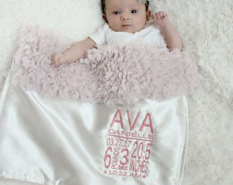 Birth stat faux fur lovey blanket baby gift baby blanket personalized security blanket llama minky satin monogram embroidery grey blush