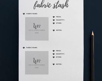 Printable Fabric Stash Organiser in GREY (2 to Page) // Fabric Planner //Printable Planner // A4 Size  //Paper // Instant Download