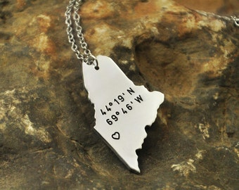 Maine  necklace Latitude Longitude Necklace Coordinate  925 sterling silver  necklace state necklace map necklace state charm