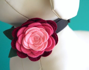 Pink Rose Collar Flower, Handmade Ombre Felt Flower for Dogs or Cats Wedding or Photos, Pet Collar Girl Dog Bow Accessory Velcro Attachment