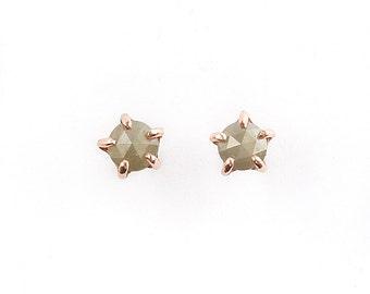 14k Rose Gold 5mm Diamond Stone Warrior Studs | 14k Rose Gold and Diamond Earrings