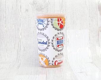 Coastal Beach Cup Cozy, Iced Coffee Cozy, Cup Sleeve, Beach Coffee Cozy, Coffee Cuff, Insulated Cup Sleeve