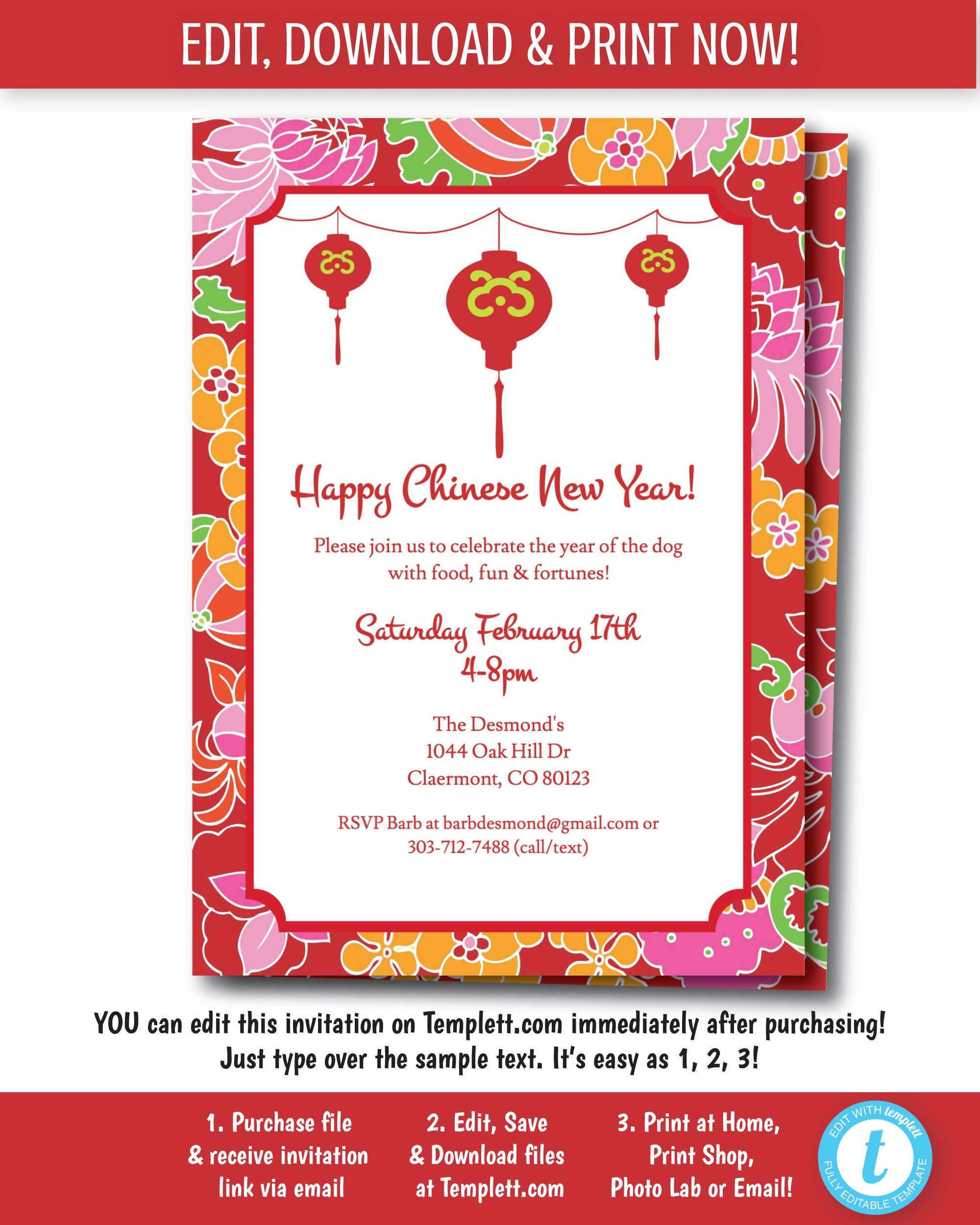 Asian Party Invitation Chinese New Years Party Chinese party