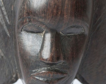 Carved ebony bust of a woman, Cameroon, 11.5 ins 29 cm, 1930s collectible
