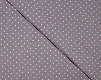 Jersey fabric Cotton-spandex printed taupe pink polka dots (in multiples of 20cm)