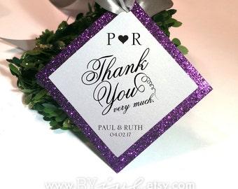 Thank you Tags, Custom. Glitter theme. Favor tags, Welcome bag tags, Monogram wedding tags.  Baptism tags, Enclosure Medallion.